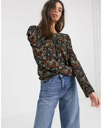 Warehouse Floral Print Tiered Blouse - Black