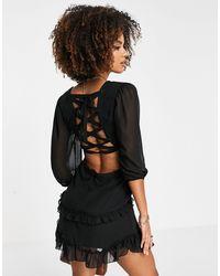 Trendyol Vestido corto con cordones - Negro