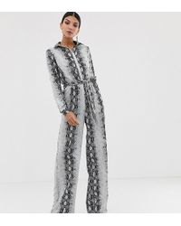 Missguided Wide Leg Jumpsuit In Snake - Gray