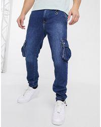 Jack & Jones Intelligence Cargo Cuffed Hem Utility Jeans - Blue