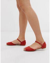 Park Lane Peep Toe Ballet Flats - Red