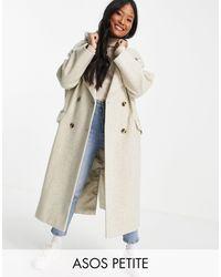 ASOS Asos Design Petite - Oversized Jas Van Jersey Met Capuchon - Wit
