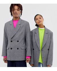 Collusion Oversized Suit Jacket In Prince Of Wales Check - Gray