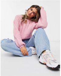 Jack Wills Cable Knit Balloon Sleeve Sweater - Pink