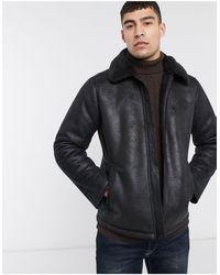 Hollister Faux Leather Shearling Aviator Jacket - Black