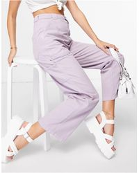 TOPSHOP Carpenter Trousers With Seam Detailling - Purple
