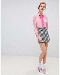 Sister Jane Mini Skirt In Houndstooth Two-piece - Black