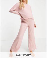 New Look Loungewear Waffle Boxy Top Co-ord - Pink