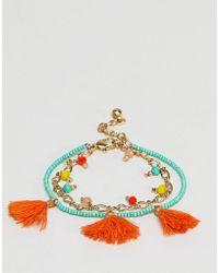 ASOS DESIGN - Summer Bead And Tassel Multirow Bracelet - Lyst