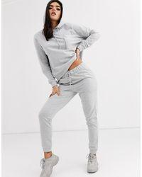 ASOS Tracksuit Hoodie / Slim jogger With Tie-grey - Gray
