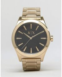Armani Exchange - Ax2328 Stainless Steel Bracelet In Gold - Lyst