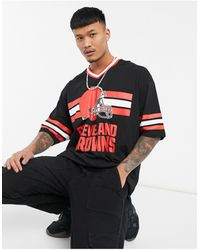 ASOS Nfl Cleveland Browns Oversized V Neck Sporty T-shirt With Rib Detail - Black