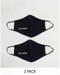 Collusion Набор Из 2 Масок Для Лица Из Ткани Пике С Логотипом Unisex-черный Цвет