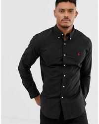 Polo Ralph Lauren Chemise cintrée en popeline à logo joueur - Noir