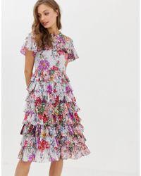 Needle & Thread - Vestito midi con volant e stampa a fiori - Lyst