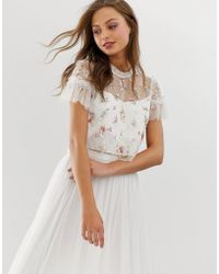 Needle & Thread Embellished Top With Flutter Sleeve In Ivory - White