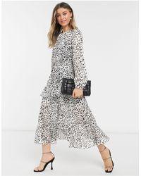 Forever New Платье Мидакси С Разрезом, Оборками И Звериным Принтом В Горошек -многоцветный