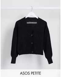 ASOS Asos Design Petite Longline Fine Knit Cardigan - Black