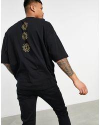 ASOS T-shirt oversize nera con sole stampato sul retro - Nero