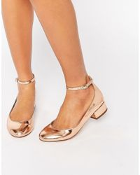 Blink Ankle Strap Low Heeled Ballerina Shoes - Metallic