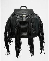 Glamorous Backpack With Fringing - Black
