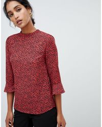 Oasis Blouse With Flute Sleeves - Red