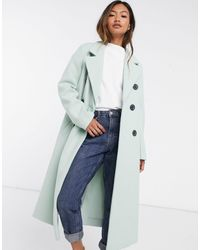 River Island Puff-sleeved Belted Coat - Blue
