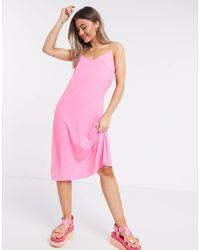 Brave Soul - Vestito slip midi rosa - Lyst