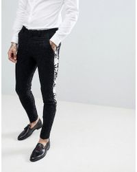 ASOS - Super Skinny Suit Trousers In Black With Contract Palm Tree Tuxedo Stripe - Lyst