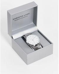 Christin Lars Mens Silver Watch - Metallic