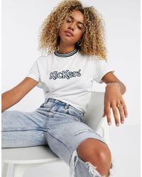 Kickers Relaxed Ringer T-shirt With Front Logo - White