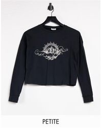 Noisy May Exclusive Cropped T-shirt With Cherub Motif - Black