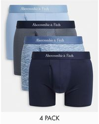 Abercrombie & Fitch 4 Pack Logo Waistband Trunks - Blue