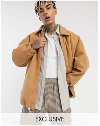 Collusion Faux Wool Coach Jacket - Brown