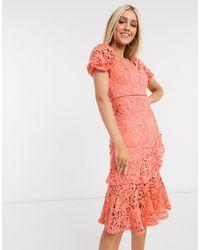 Love Triangle Коралловое Кружевное Платье Миди -розовый