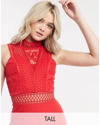 Chi Chi London Cutout High Neck Jumpsuit - Red