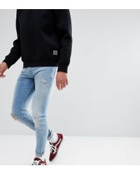 Just Junkies - Max Super Skinny Jeans In Light Wash With Rip And Repair - Lyst