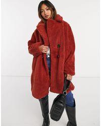 AX Paris Рыжее Плюшевое Пальто Oversized -оранжевый