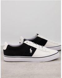 Polo Ralph Lauren Белые Кроссовки Из Парусины Со Вставкой И Логотипом-пони -черный Цвет