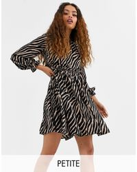 Y.A.S Petite Aritta Tiger Print Smock Dress-multi - Black