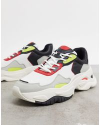Bershka Chunky Sole Sneakers With Contrast Panels - Multicolor