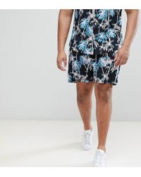 ASOS DESIGN - Design Plus Two-piece Slim Shorts In Black With Hawaiian Print - Lyst