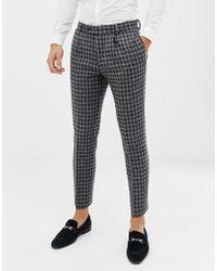 ASOS Slim Suit Trousers In 100% Wool Harris Tweed In Monochrome - Black