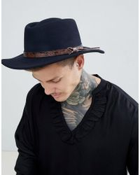 ASOS - Pork Pie Hat With Wide Brim In Navy With Tan Embossed Band Detail - Lyst