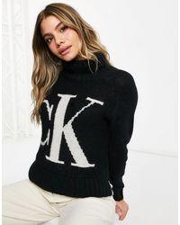Calvin Klein Maglione girocollo lavorato con logo sul davanti, colore nero