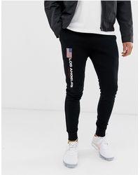 ASOS Skinny sweatpants With Los Angeles Flag Print - Black