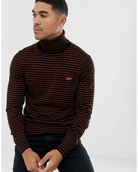 Lacoste Stripe Roll Neck Jumper - Blue