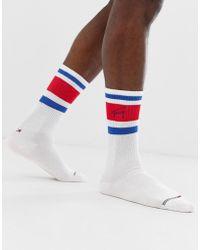 Tommy Hilfiger - Tommy Jeans Retro Logo Crew Socks In White - Lyst