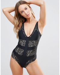 Little Mistress - Lace Panel Deep V Swimsuit - Lyst