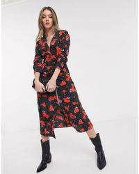 TOPSHOP Midi Dress With V-neck - Red